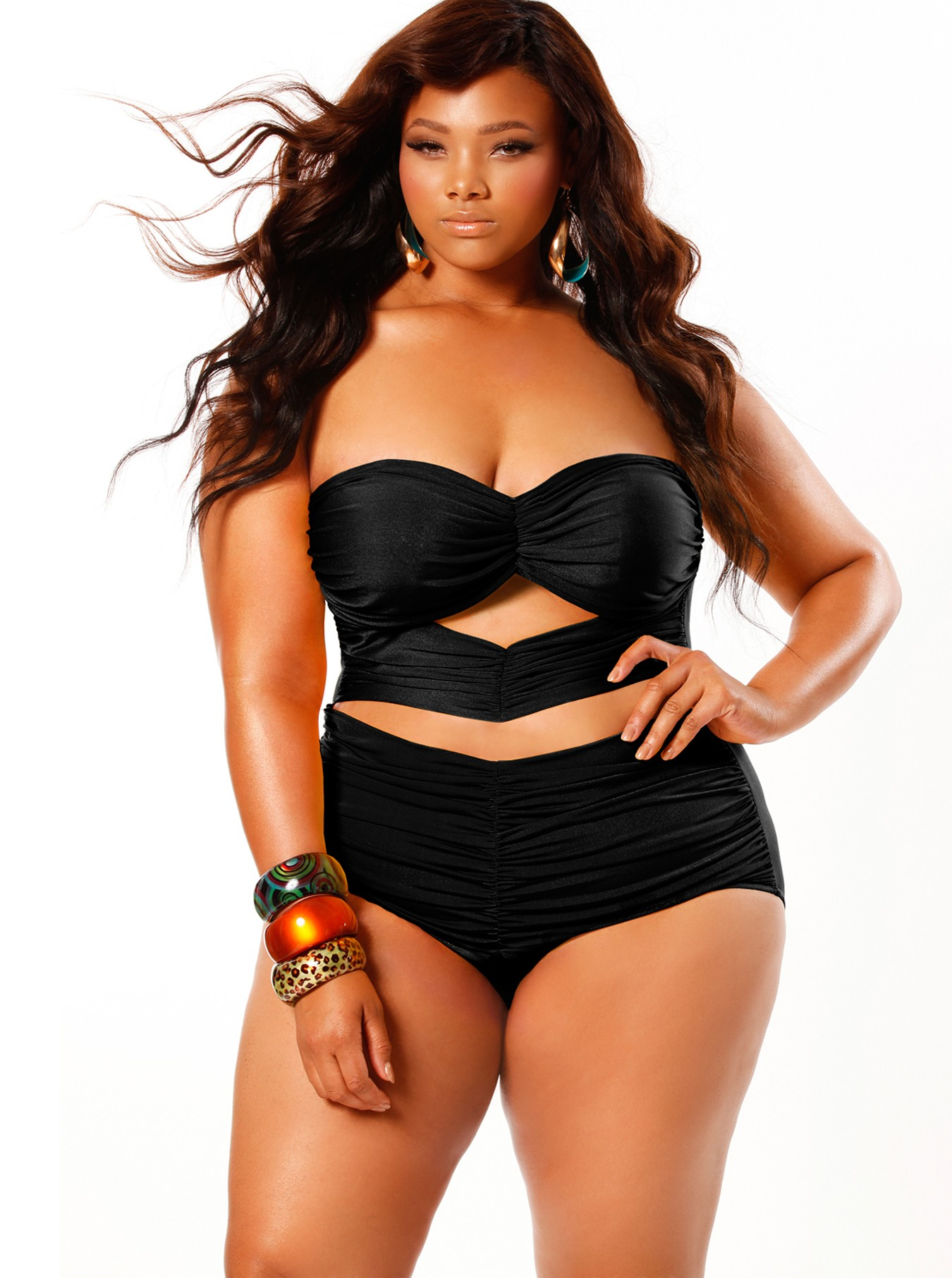 Plus size swimsuit bikini model